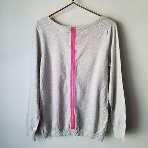 Banana Republic | Gray Pink Exposed Zip Sweater
